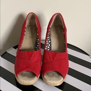 Toms Red Open  Toe Wedges